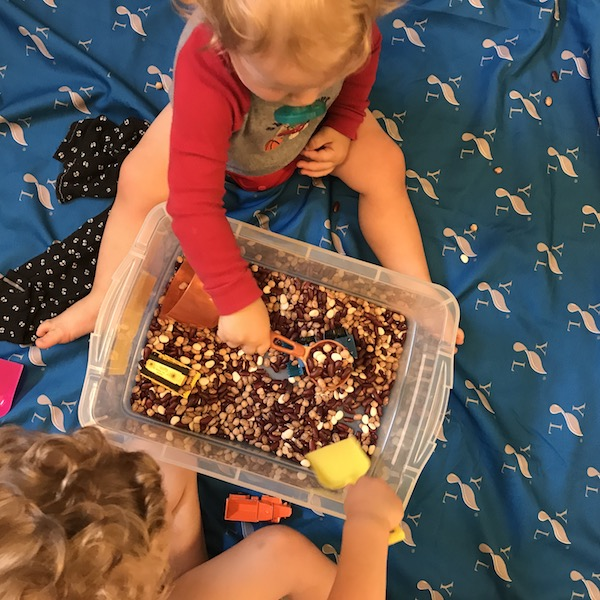 sensory bin with beans