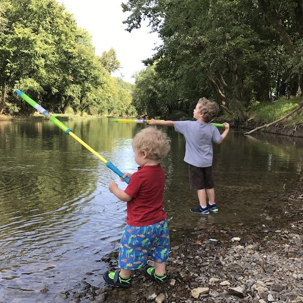 water guns at the creek