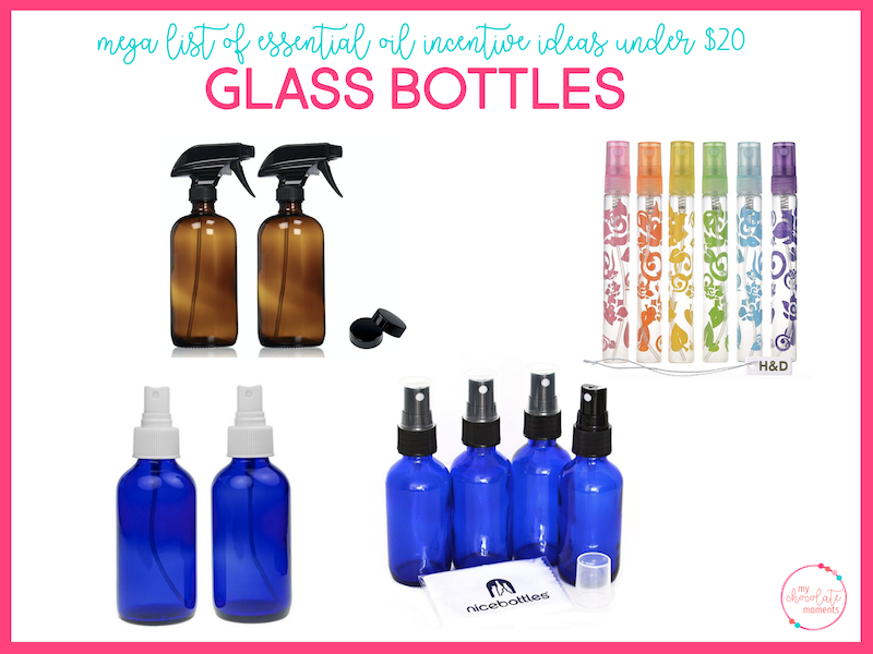 essential oil incentive ideas - glass bottles